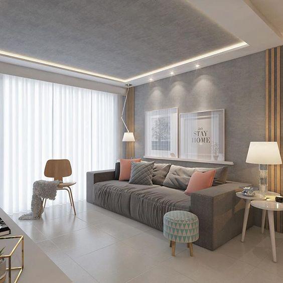 Sala com iluminação indireta por fita de LED